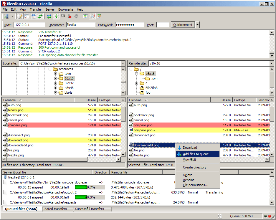 Full FileZilla screenshot